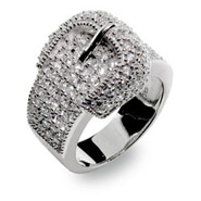 White Pave Cubic Zirconia and Sterling Silver Belt Ring