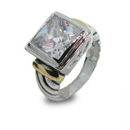 Designer Inspired Cable Ring with White Cubic Zirconia