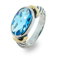 Designer Inspired Oval Blue Topaz Cable Ring
