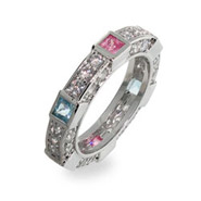 Sterling Silver Stackable Cubic Zirconia Band w/ CZ Pastels