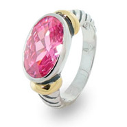 Designer Inspired Oval Pink Cubic Zirconia Cable Ring
