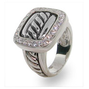 Designer Inspired Sterling Silver Pave Buckle Ring