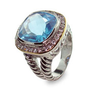 Designer Inspired Blue Ice Ring