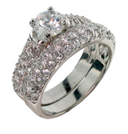 Scott Kay Inspired Diamond Cubic Zirconia Wedding Ring Set