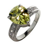 Heather's Sparkling Lemon-Lime Pear Cocktail Ring in Sterling Silver
