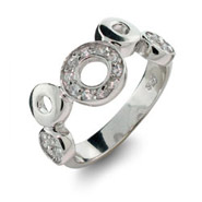 Sterling Silver Cubic Zirconia O Circles Ring