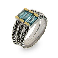 Sterling Silver 3 Band Stackable Cable Ring Set w/ Blue CZs
