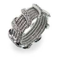 Tiffany Inspired Silver Rope Band with Cubic Zirconia Waves