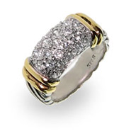 Designer Inspired Cable Ring with Pave Cubic Zirconias