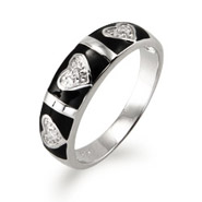 Sterling Silver CZ Heart and Bar Black Enamel Ring