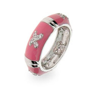Sterling Silver Bar and X Pink CZ Enamel Ring