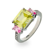 Paolo Inspired Peridot and Pink CZ Ring