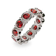Sterling Silver Bezel Set Garnet Eternity Band