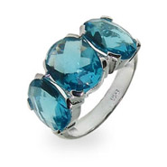 Sterling Silver Italian CZ Aqua Three Stone Ring