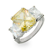Tracey Edmonds Replica Canary CZ Three Stone Engagement Ring