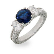 Intricate Sapphire & Diamond CZ Three Stone Engagement Ring