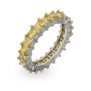 Sparkling Canary Princess Cut Eternity Band