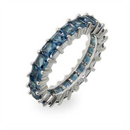 Sparkling Sapphire Princess Cut Eternity Band