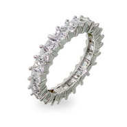 Sparkling Diamond CZ Princess Cut Eternity Band