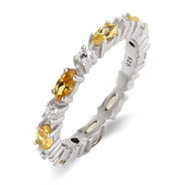 Heather's Thin Canary and Clear Stackable CZ Band