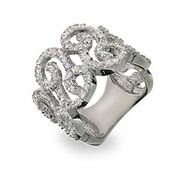 Elegant Sterling Silver Diamond CZ Scroll Right Hand Ring
