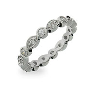 Tiffany Inspired CZ Sway Stackable Eternity Ring