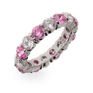 Sparkling Pink Ice Stackable Sterling Silver Eternity Band