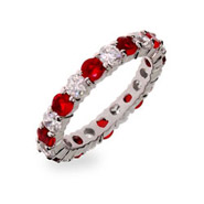 Scarlett's Ruby Red and Clear CZ Silver Eternity Ring