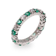 Elena's Emerald and Clear CZ Silver Eternity Ring