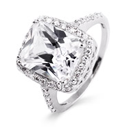 Ashlee Simpson Replica Diamond Cubic Zirconia Sterling Silver Engagement Ring