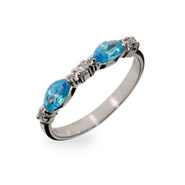 Sterling Silver Stackable Ring with Blue Topaz CZs