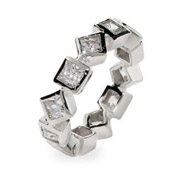 Sparkling Diamond Princess CZ Sterling Silver Eternity Band