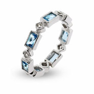 Blue Topaz & Clear CZ Stackable Eternity Ring