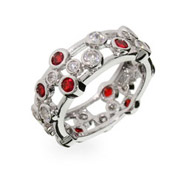 Tiffany Inspired Ruby Bubbles Sterling Silver Ring