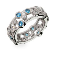Tiffany Inspired Sapphire Bubbles Sterling Silver Ring