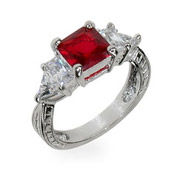 Heidi's Ruby Red and Diamond CZ Silver Engagement Ring