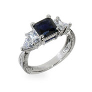 Linette's Sapphire and Diamond CZ Engagement Ring