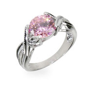 Tori's Simple Pink Cubic Zirconia Sterling Silver Ring