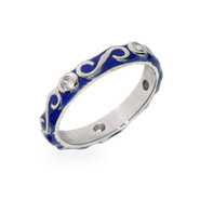 Gisele's Ocean Blue Enamel Ring with Silver Swirls