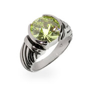 Designer Inspired Round Cut Peridot CZ Cable Ring