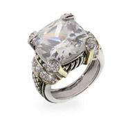 Designer Inspired Diamond CZ Cushion Cut Cocktail Ring