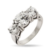 Nikki Reed Replica CZ 3 Stone Engagement Ring
