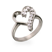 Sterling Silver CZ Journey Heart Ring