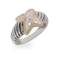 Designer Inspired Pave CZ X Sterling Silver Cable Ring