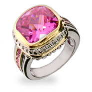 Jennifer's Designer Inspired Pink Cushion Cut CZ Silver Ring