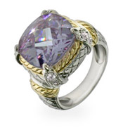 Designer Style Brilliant Cut Lavender CZ Cocktail Ring