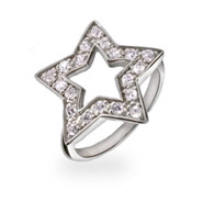 Tiffany Inspired CZ Sterling Silver Star Ring