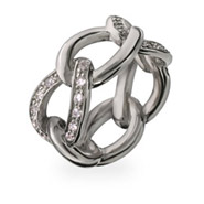 Designer Style Sterling Silver and CZ Chain Link Ring