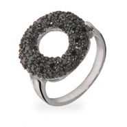 Tiffany Inspired Black Pave CZ Sevillana O Silver Ring