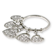 Sterling Silver Pave CZ Dangling Heart Charm Ring